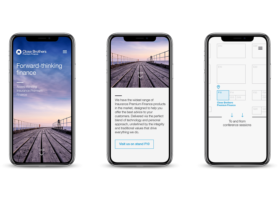 Event mobile app screens shown on iPhones