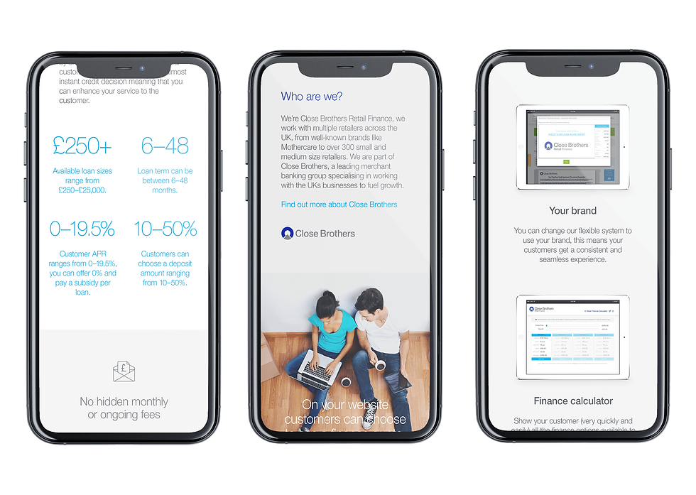 Mobile designs from the launch website shown on iPhones