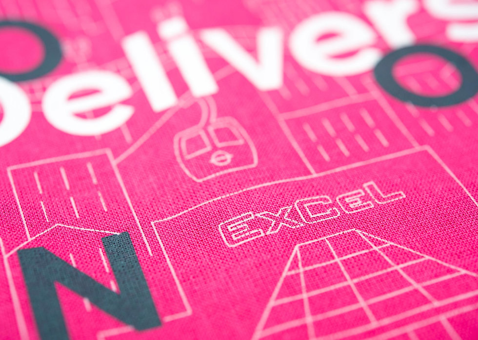 Close up of screen printed cotton stand gift bag