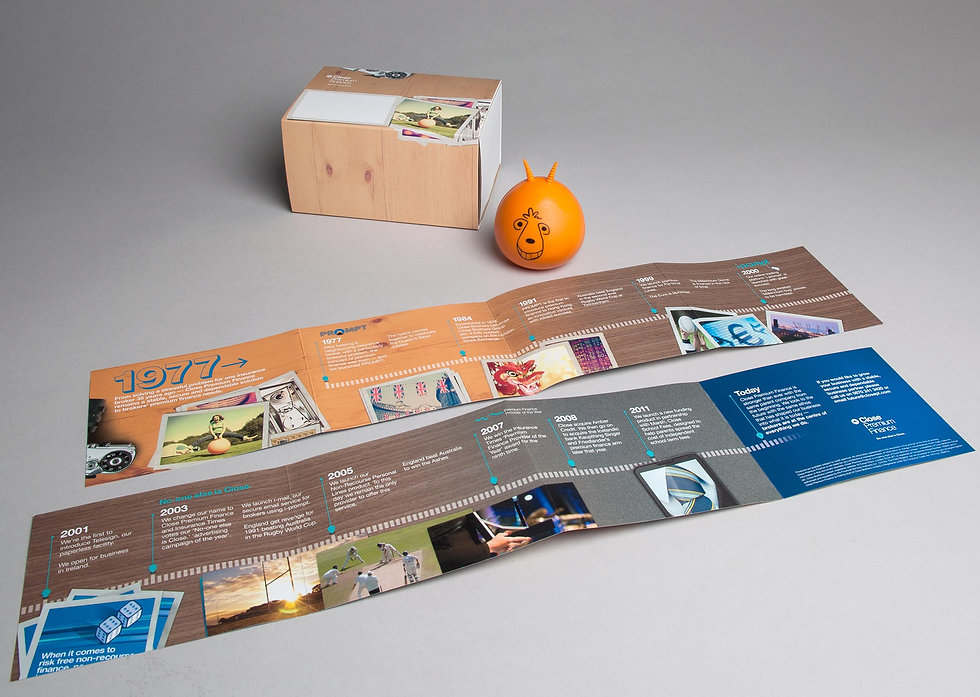 Campaign box branding, retro spacehopper stress toy and mailer opened out to reveal content
