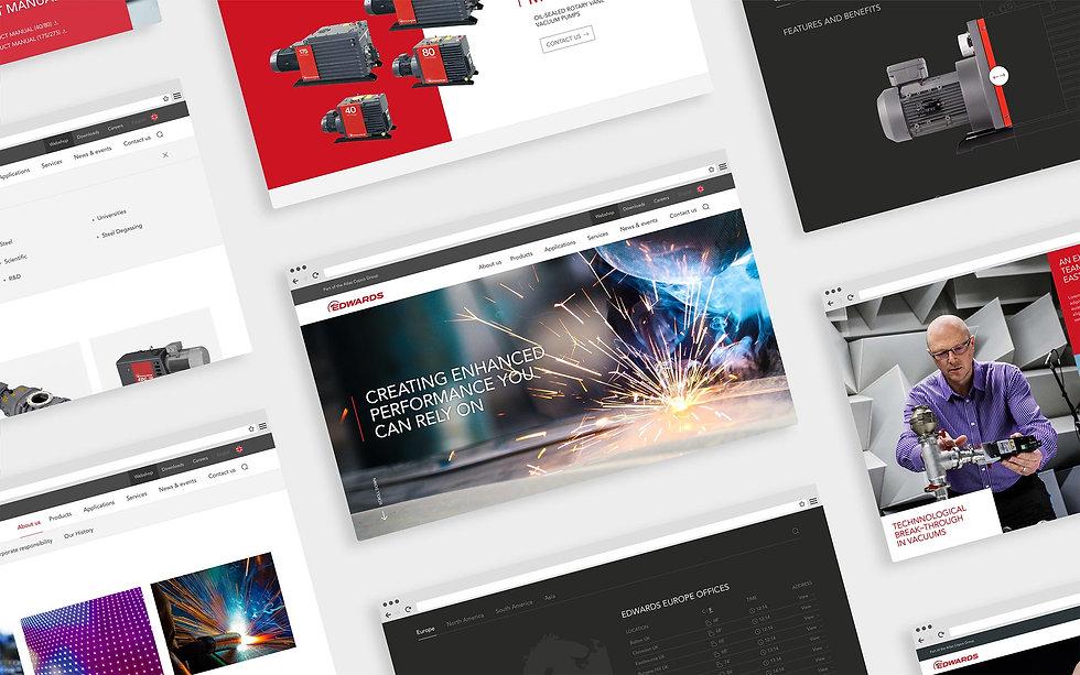 Mix of website desktop page designs