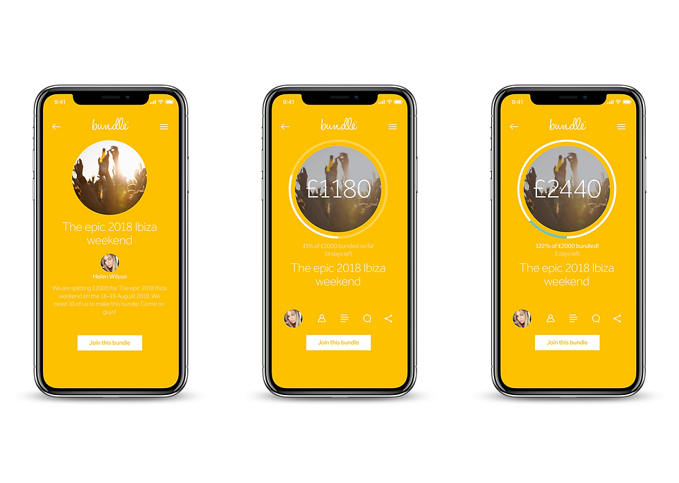 Successful bundle screens shown on iPhones