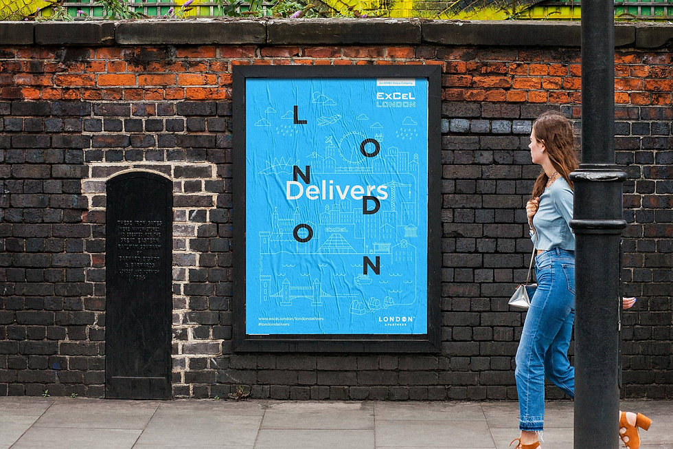 Young lady walking past a campaign poster in London
