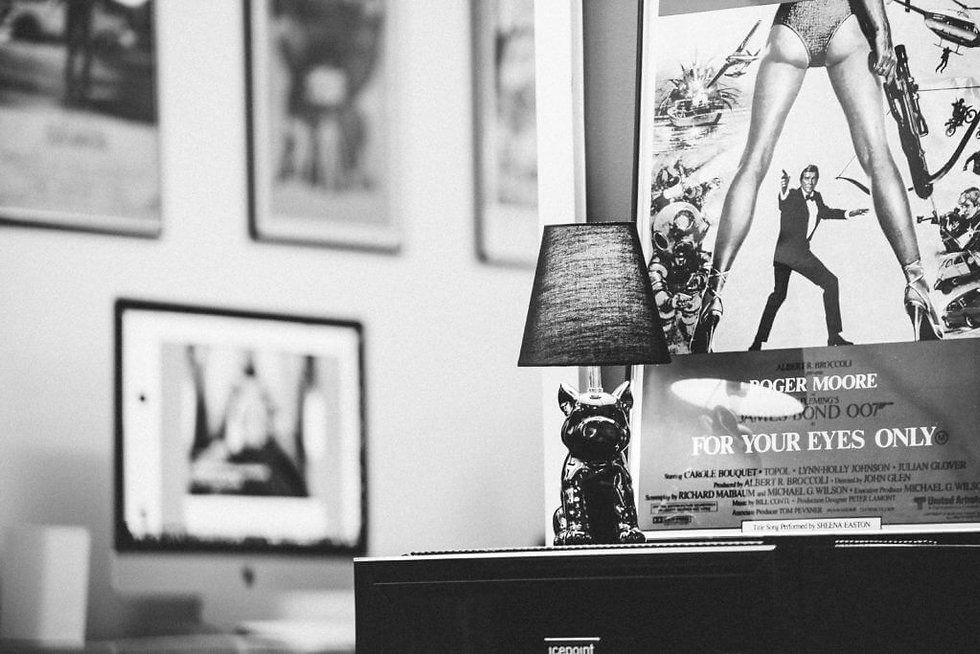 Shot of our bulldog lamp with studio artwork in the background