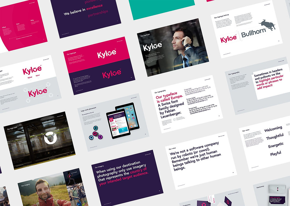Pages from the Kyloe Partners brand guidelines