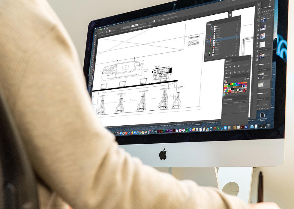 Integral designer creating stand technical drawings