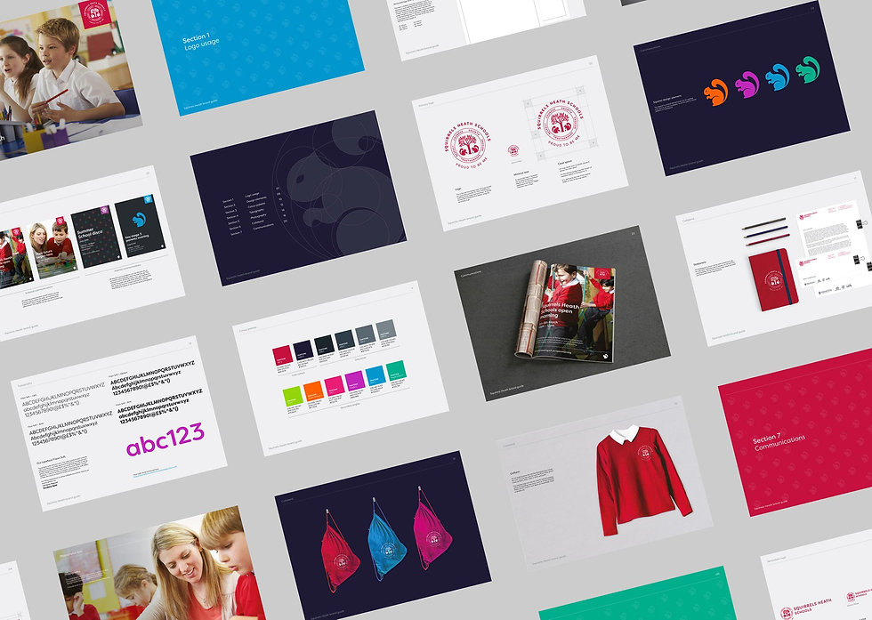 Pages from the new school brand guidelines
