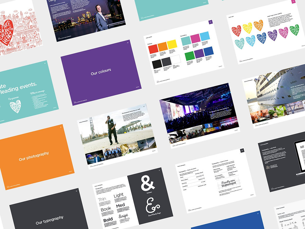 Pages from the ExCeL London brand guidelines