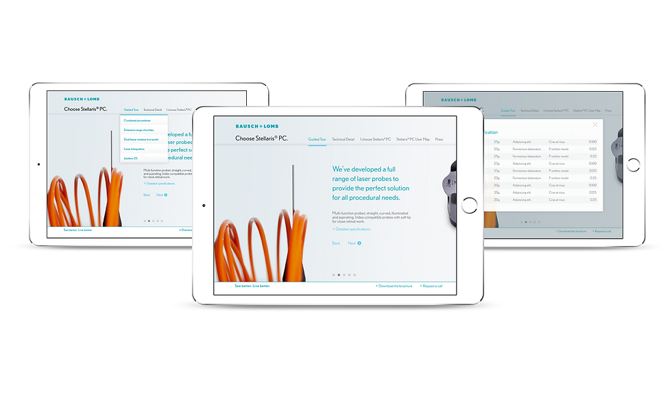 Designs for the product launch responsive microsite on iPads