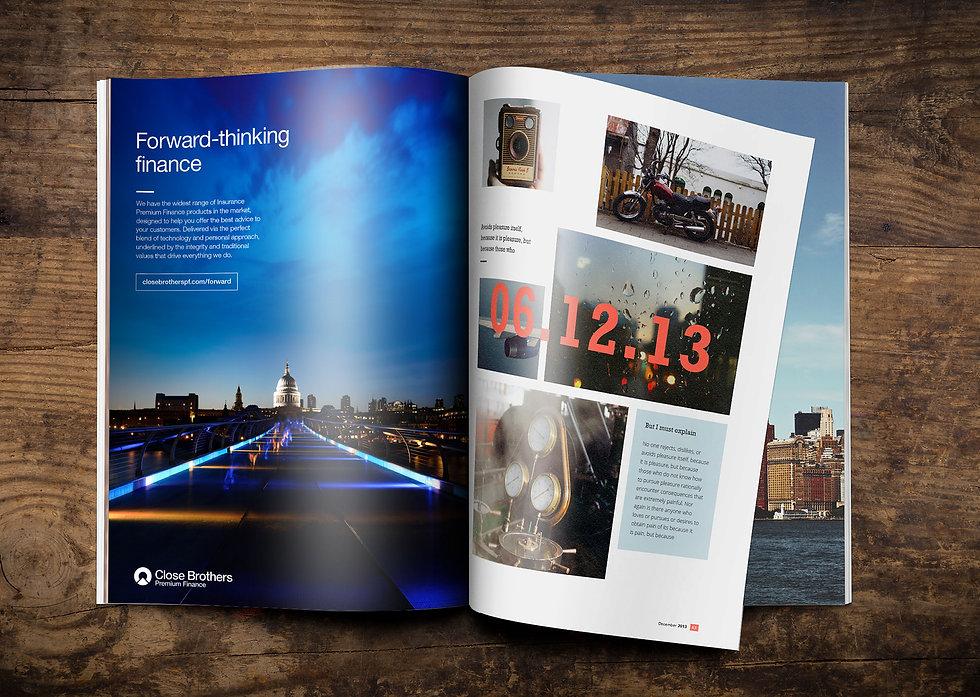 Press advert design shown in finance publication