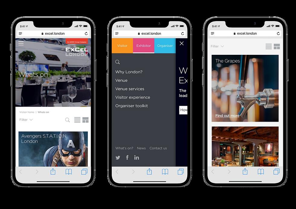 Mobile design for ExCeL London website shown on iPhones