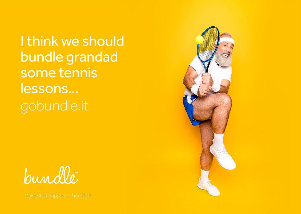 Advert example suggesting bundling grandad some tennis lessons