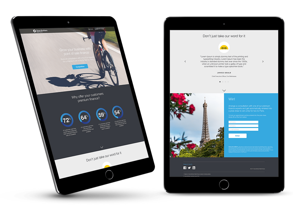 Campaign landing page for bike finance shown on iPads