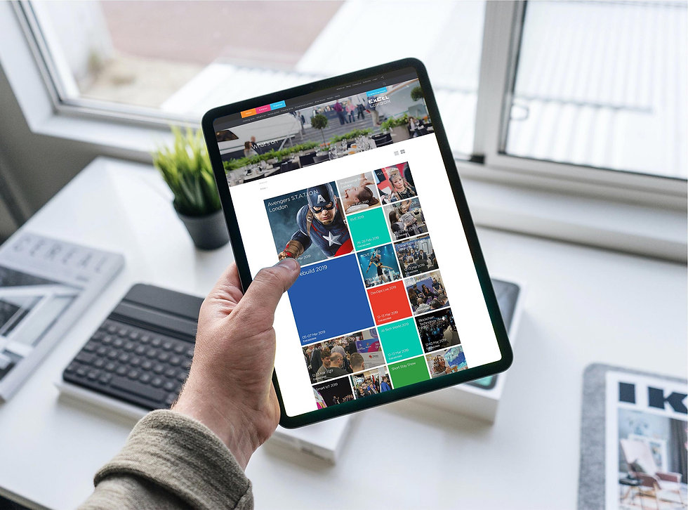 ExCeL London events page design shown on a tablet