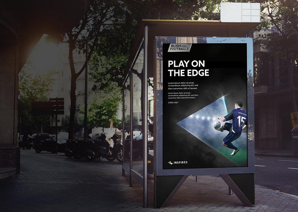 Rush Football 2 poster at bus stop
