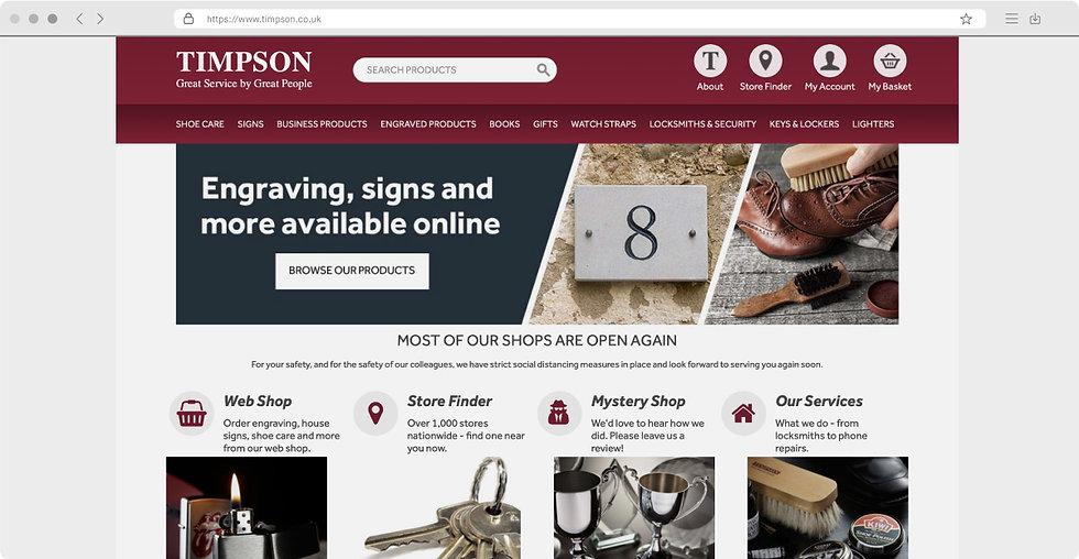 Timpson website homepage example