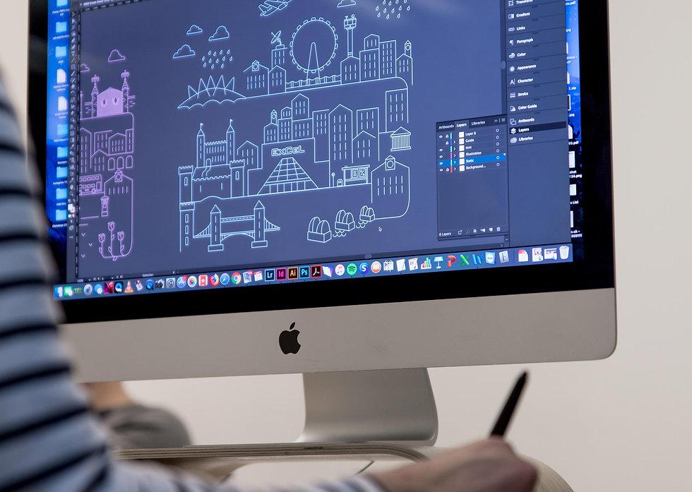 Integral designer creating custom London illustrations using Adobe Illustrator
