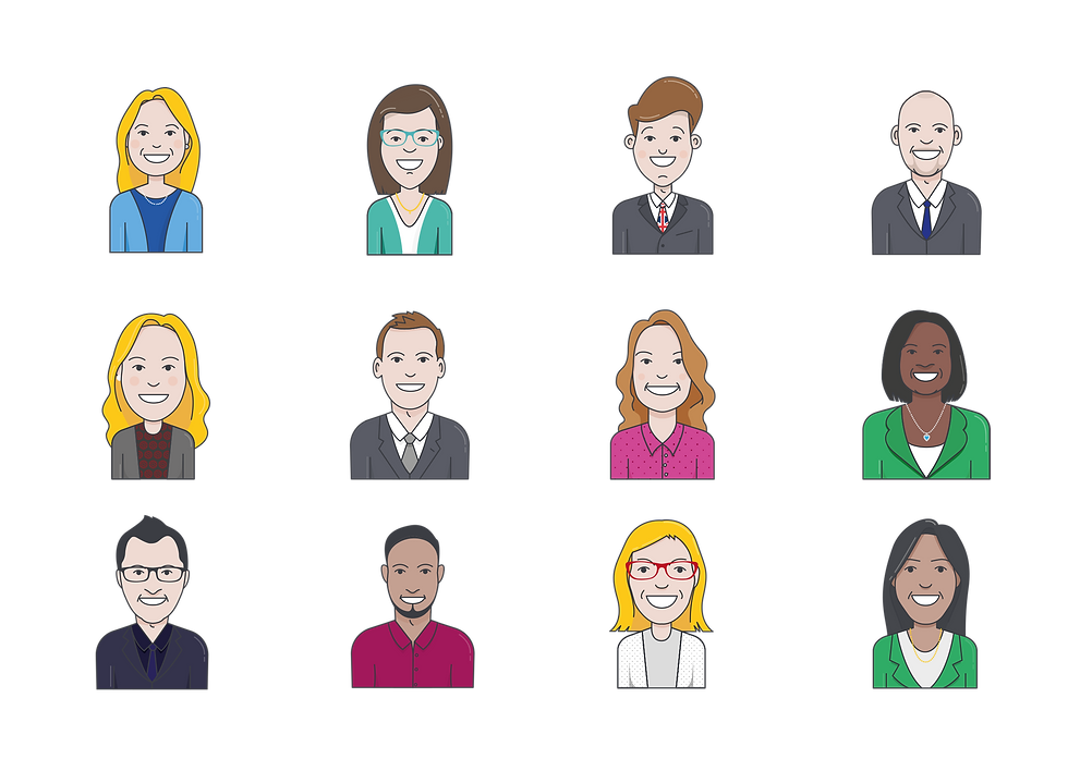 Avatars of the ExCeL London team we drew for the campaign
