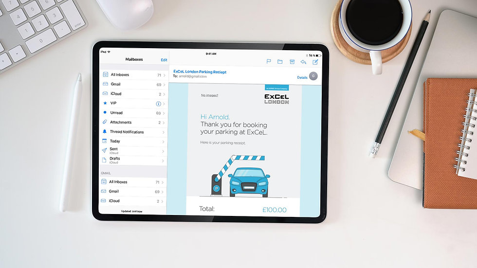 Customer confirmation email design shown on tablet
