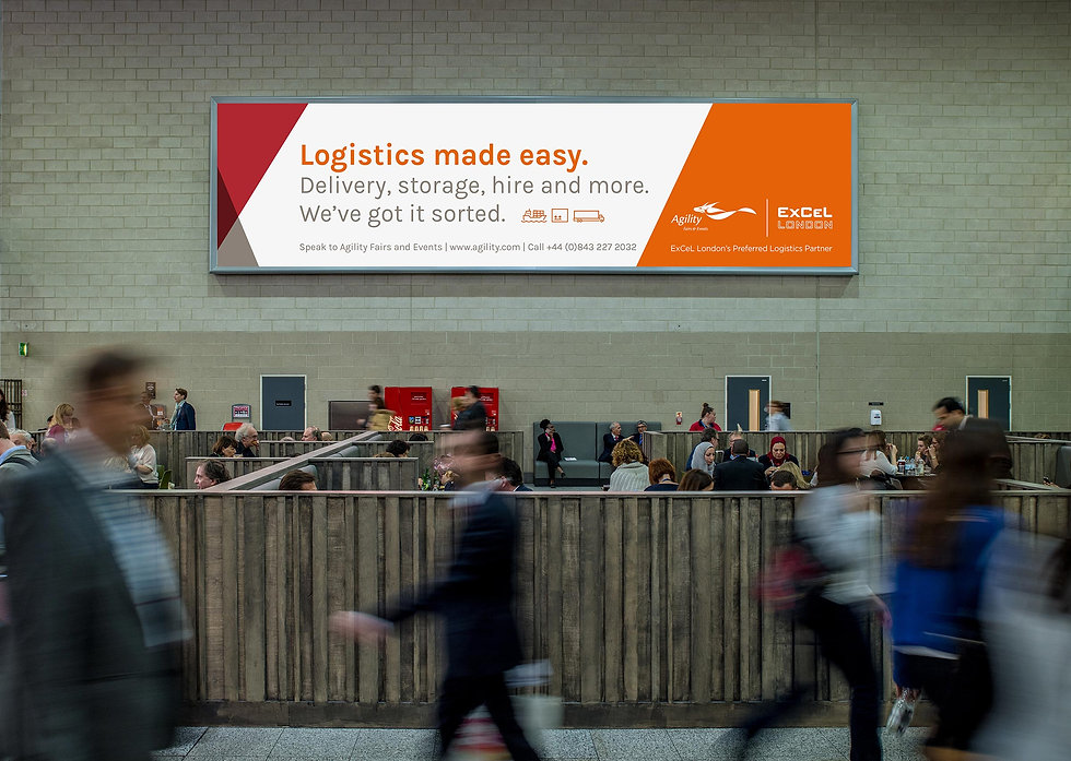 Agility billboard at a busy ExCeL London