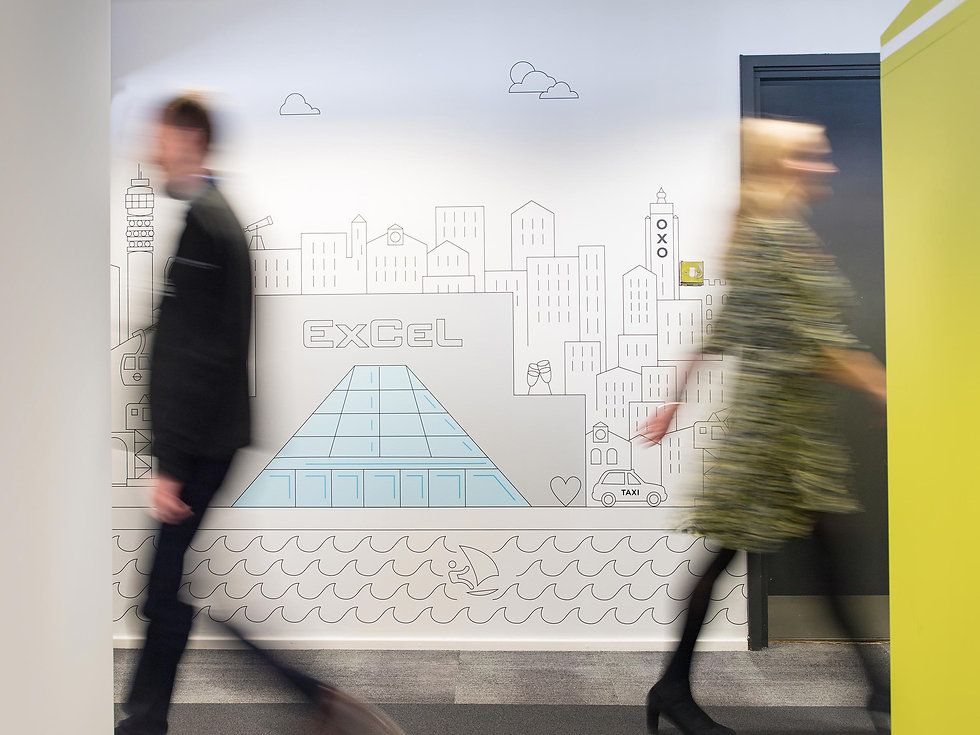 Wall brand art in ExCeL's London offices