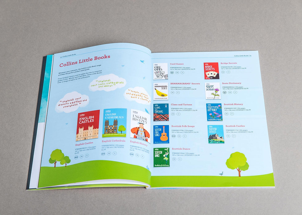 Catalogue open on the Collins Little Books spread