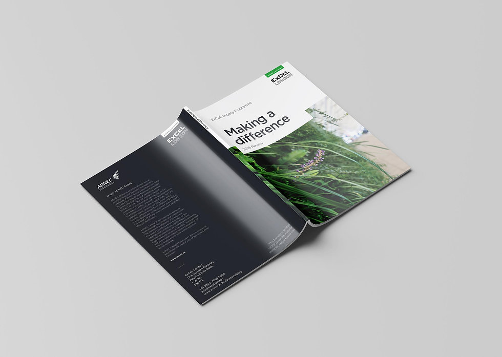 Open brochure showing front and back covers