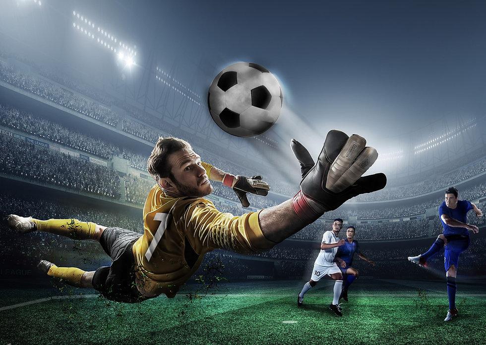 CGI scene of goalkeeper stretching for a save