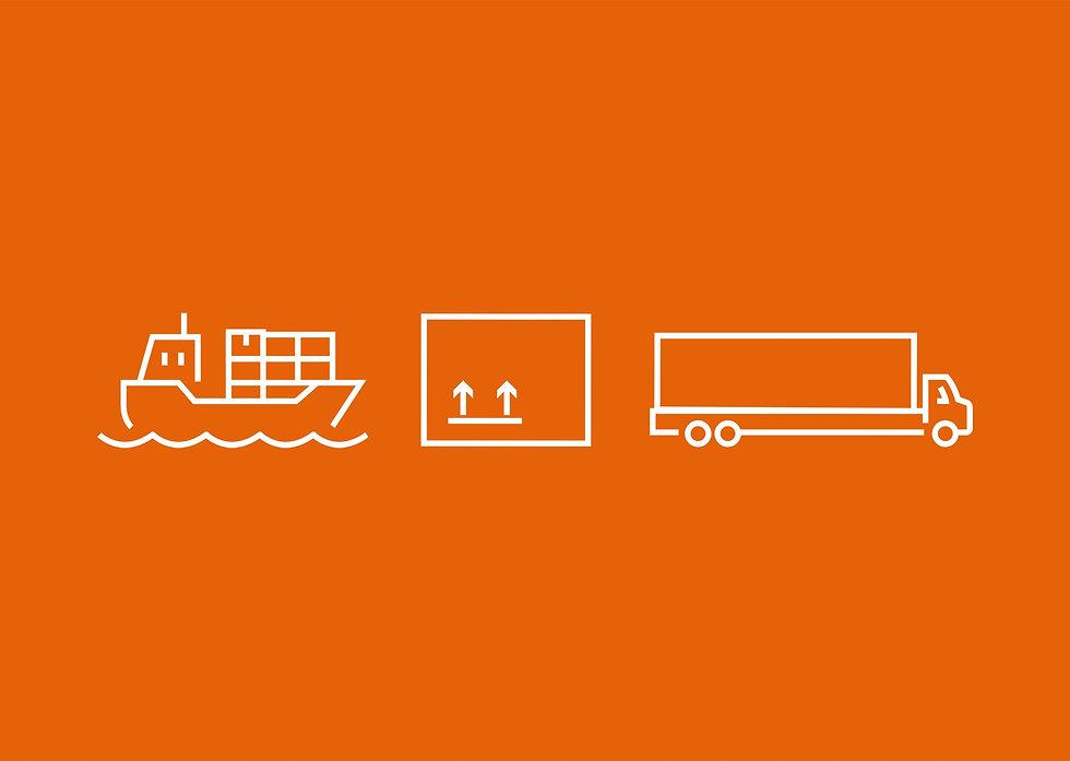 Advert icon language on orange background