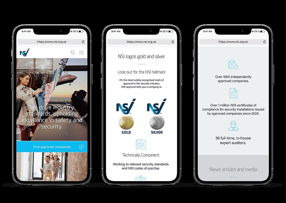 NSI website mobile design shown in 3 iPhones