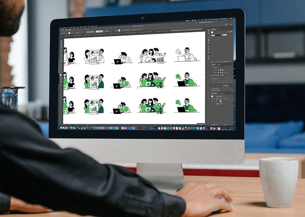 Designer working on Charterpath custom character illustrations