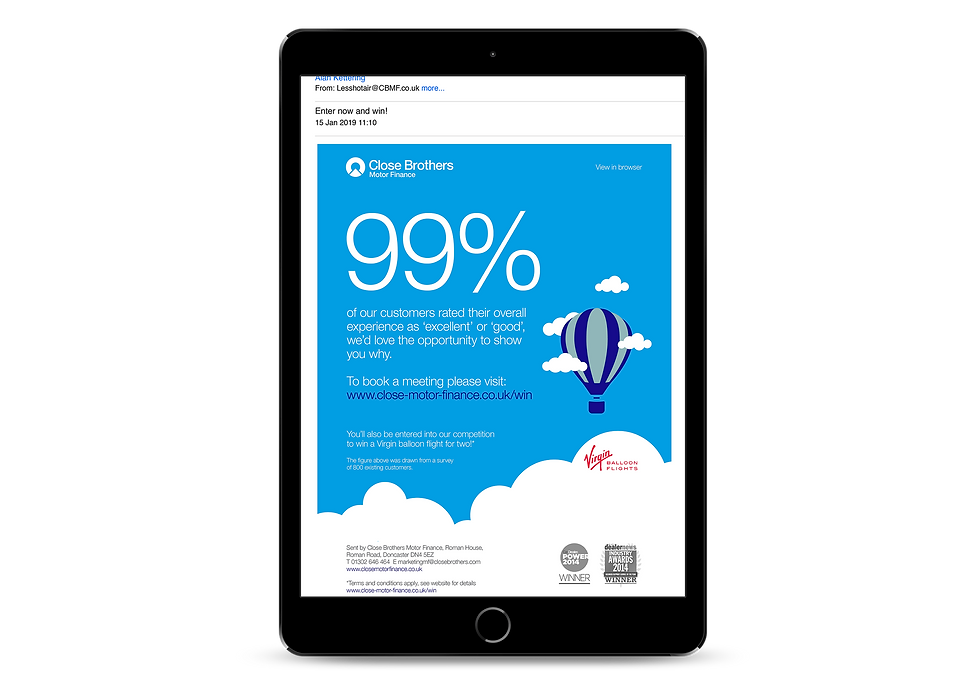 Campaign email follow up design shown on an iPad