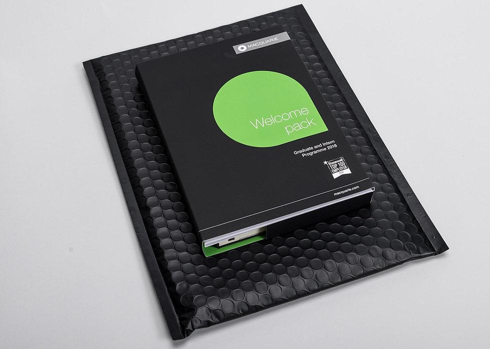 The complete pack sat on it's black bubble bag envelope