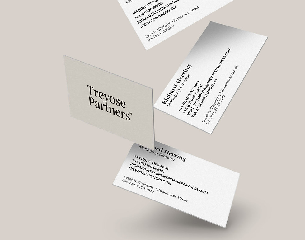 Trevose Partners business cards falling