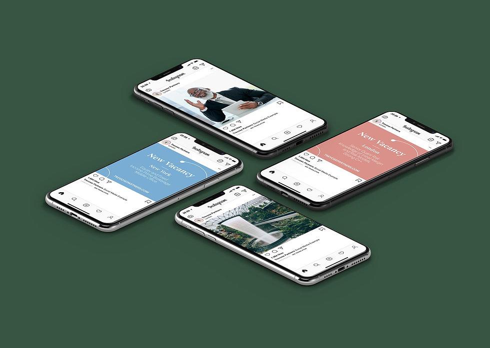 Social media designs presented in iPhones