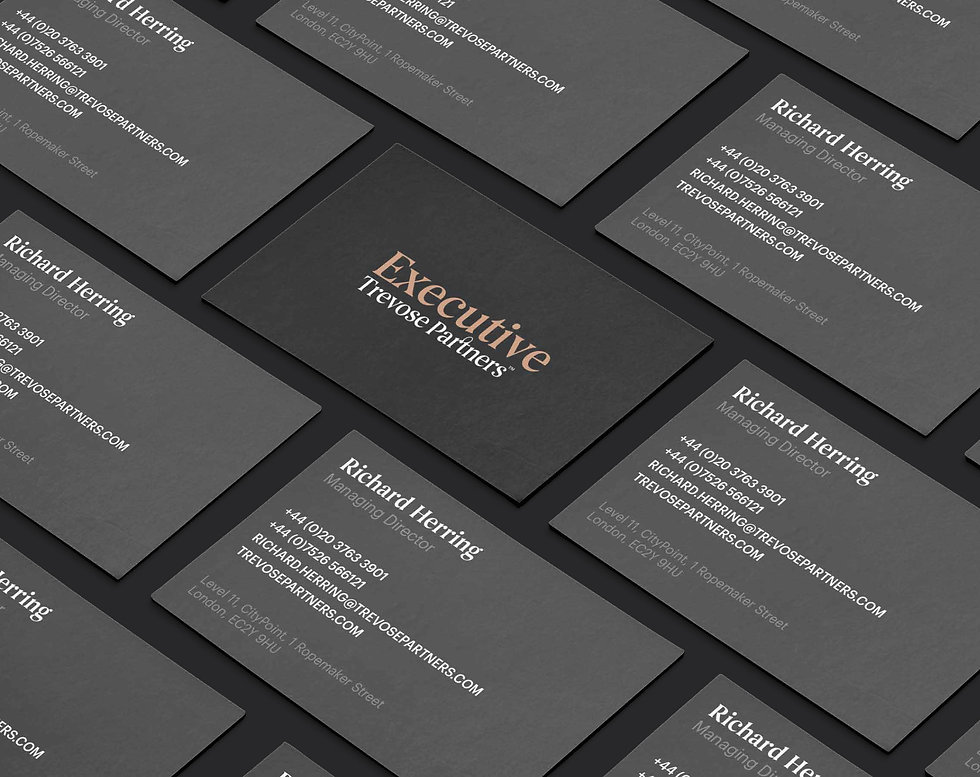 Trevose Executive business cards on black background