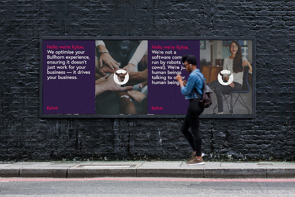 Young lady walking past street posters on a dark wall