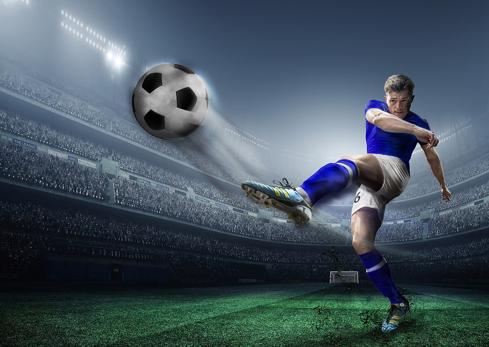 Created art scene showing a footballer striking a ball