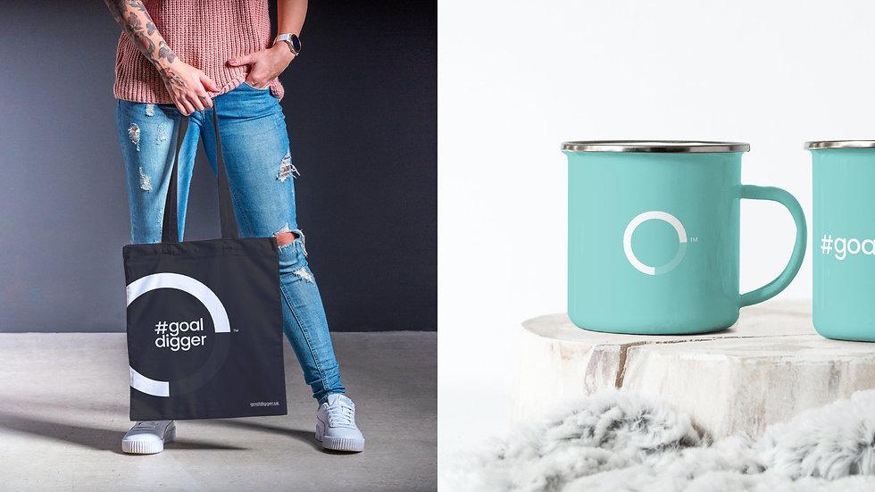 Goal Digger branded tote bag and coffee mugs