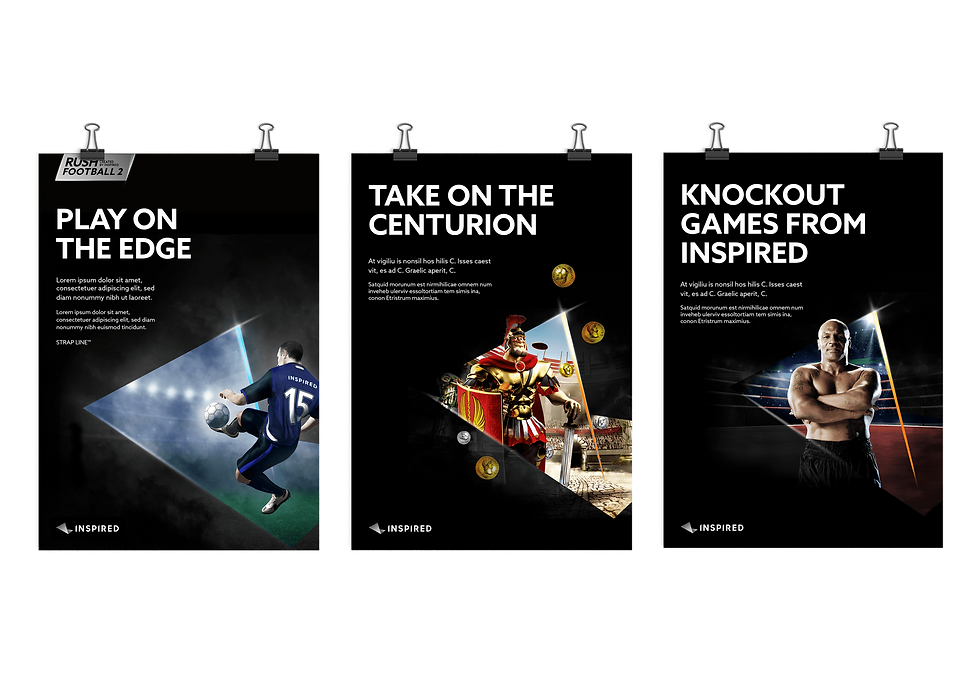 Posters advertising Inspired's virtual sports software