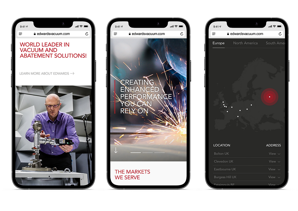 Edwards mobile designs shown in iPhones