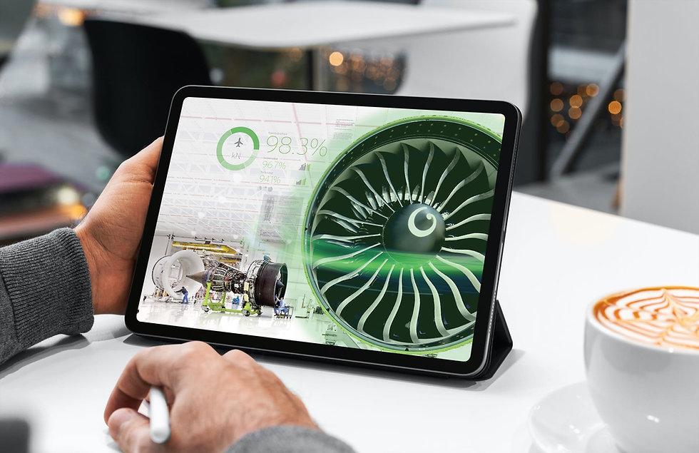 App screen design showcasing intelligent jet engine data for commercial aviation