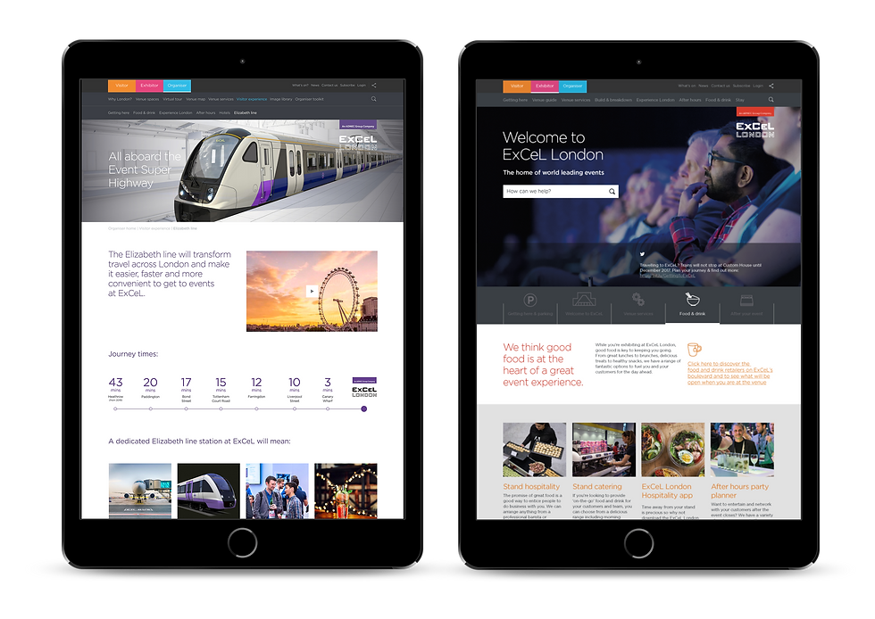 New excel.london website shown on iPads