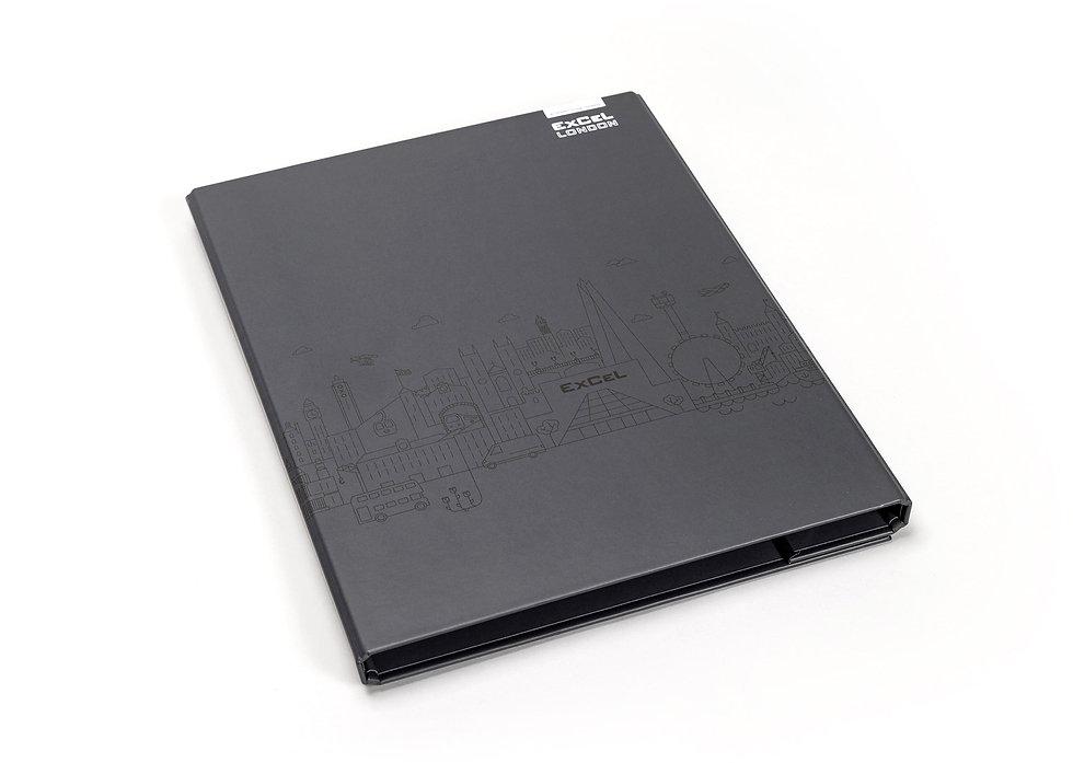 Front cover of bespoke ExCeL London folder
