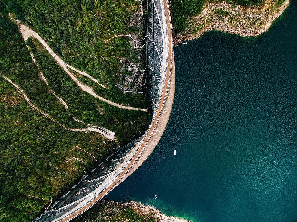 Drone shot of a dam