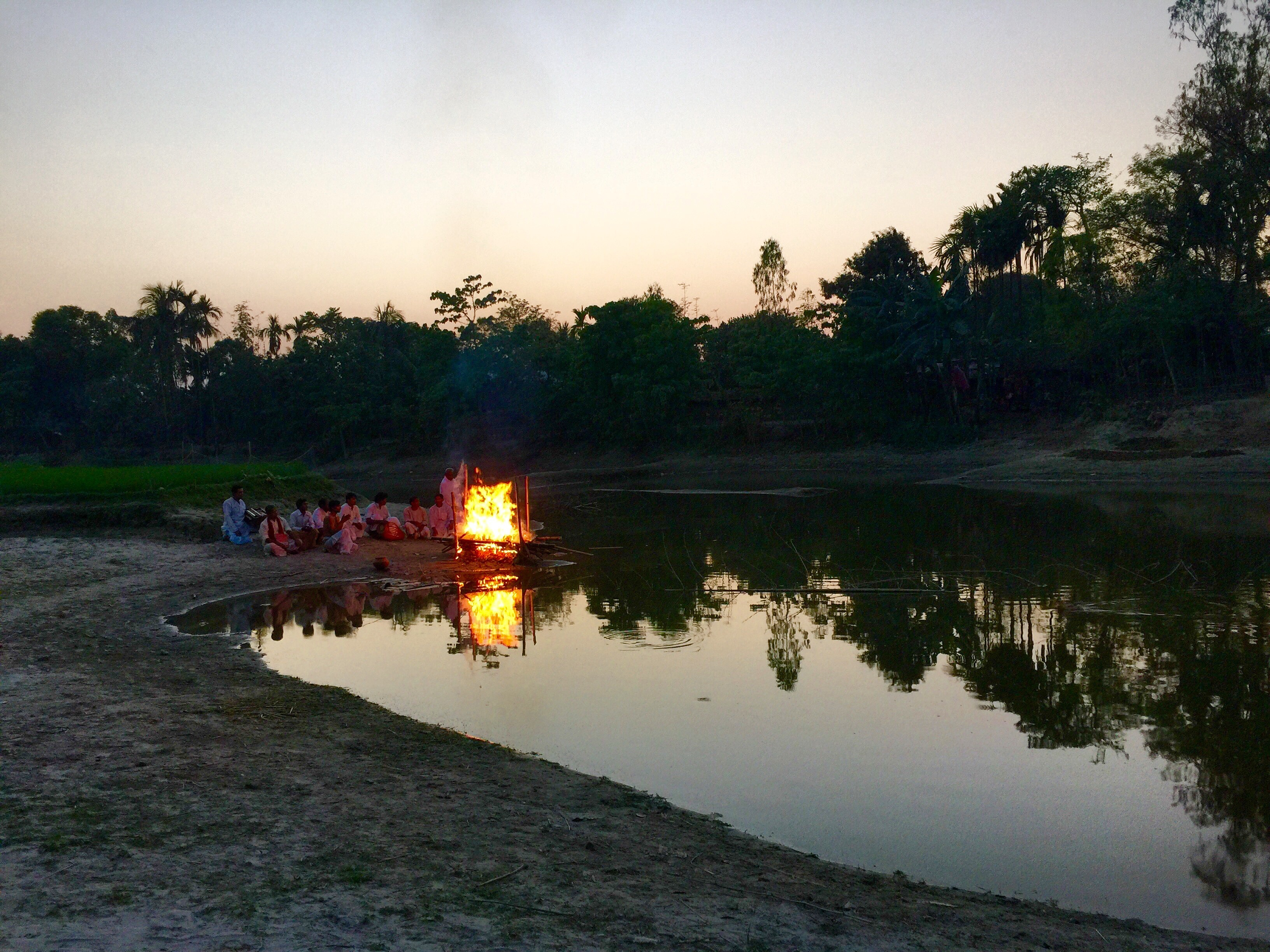 The cremation during the sun set