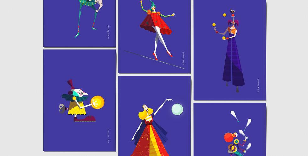 Circus Postcard Collection (set of 6)