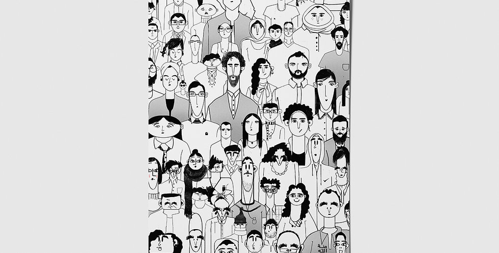People (Black) Postcard