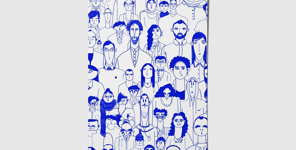 People (Blue) Postcard