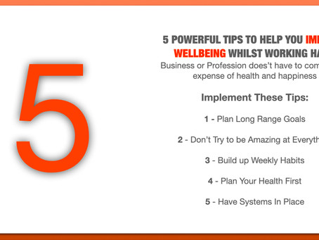 5 Top tips to improve health whilst working hard